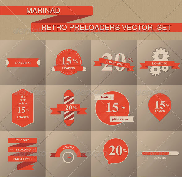 Retro Preloaders Vector Set by MarinaD