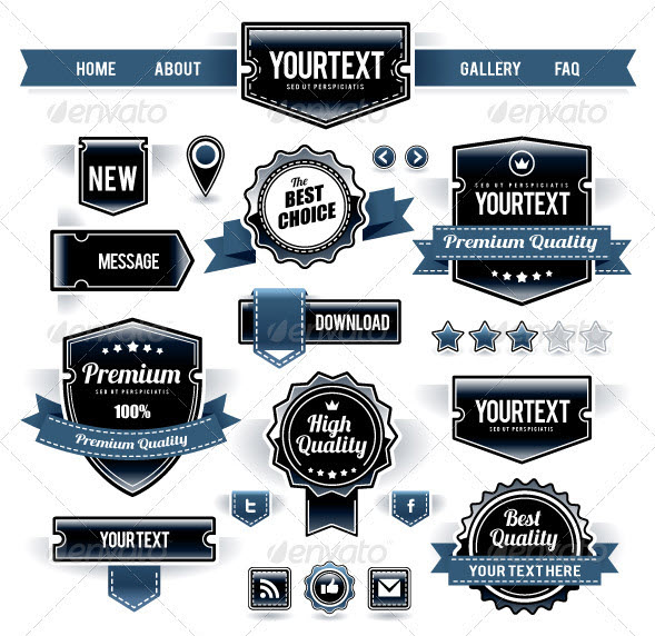 Vector Set of Retro Labels, Buttons and Icons by seniors