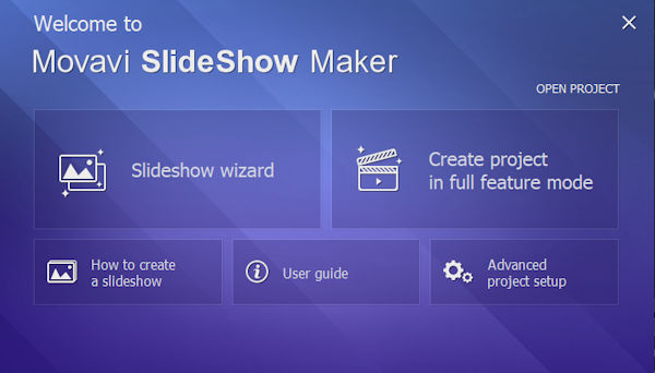 Movavi Slideshow Maker - Create a new project in wizard or full featured mode